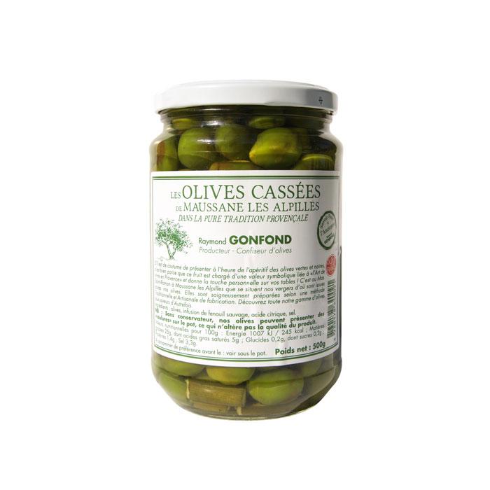 Pot en verre d'olives cassées 500g