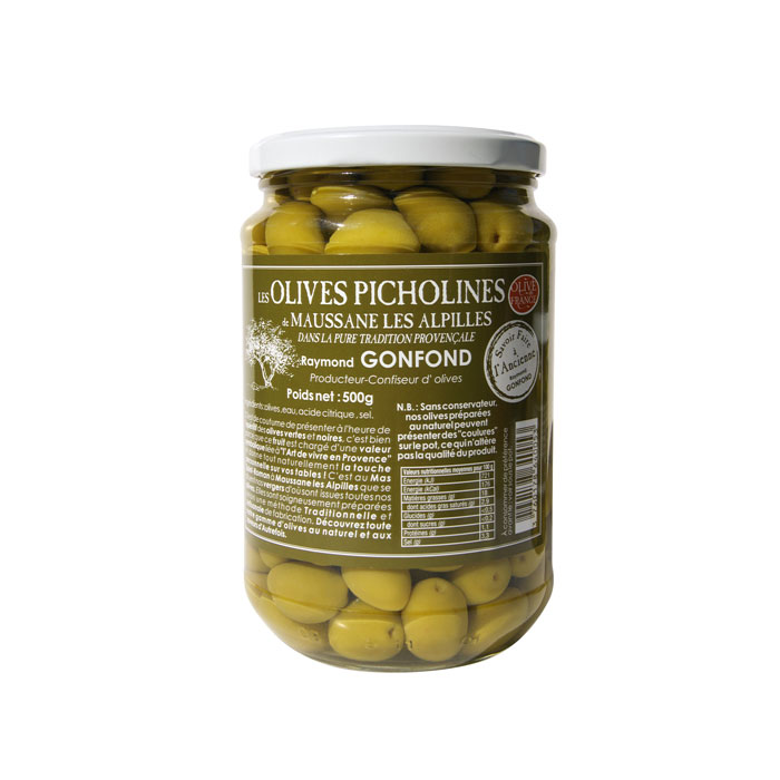 Pot en verre d'olives picholines 500g